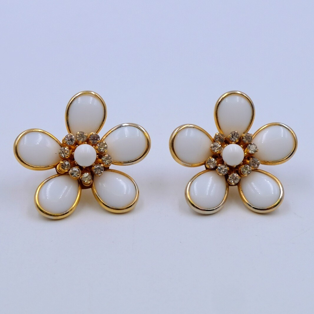 Vintage Flower Milk Glass Earrings 1960's
