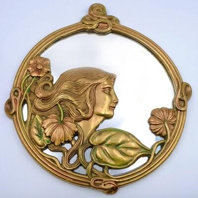 Миниатюрное интерьерное зеркало 1930х годов из меди