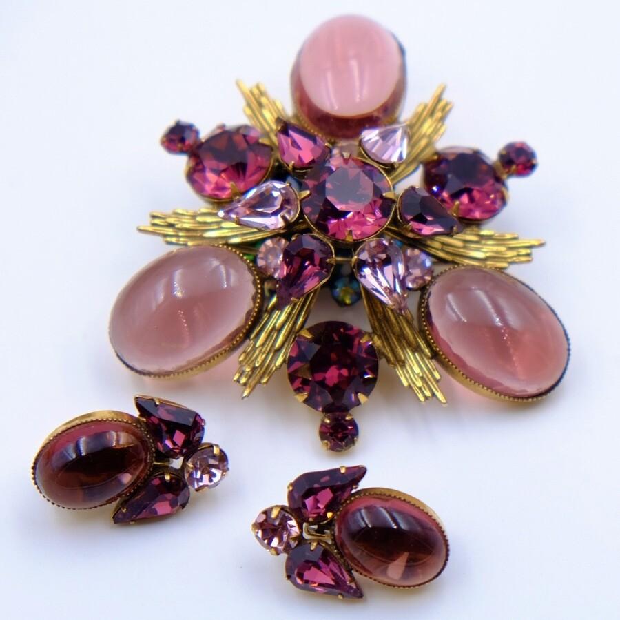 Original by Robert Purple Massive Brooch-Pendant and Earrings Set 1950's