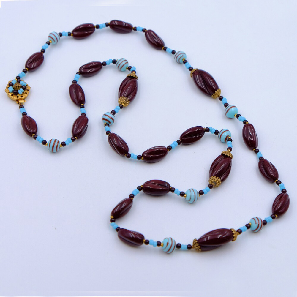 Vintage Miriam Haskell Chocolate Blue Glass Beads Necklace 1960's