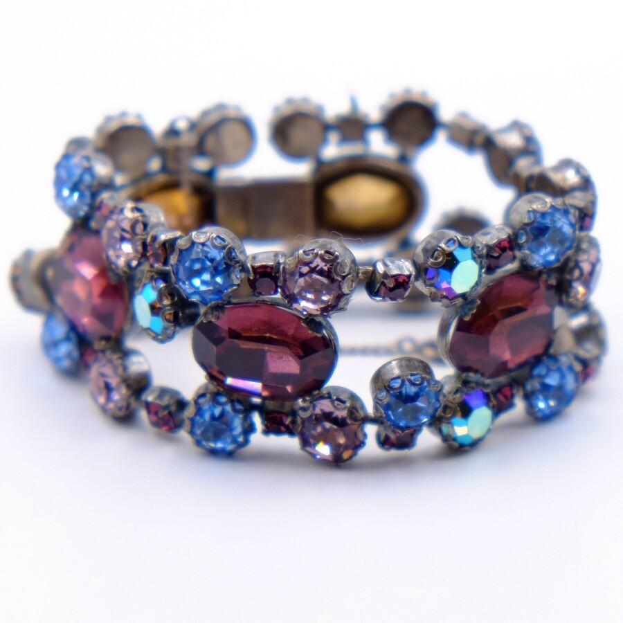 Vintage Schreiner Rare Lilac Purple Glass Bracelet 1950's