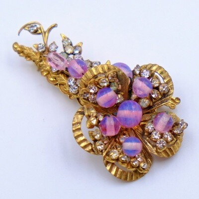 Vintage Pink Glass Flower Brooch Miriam Haskell 1960's