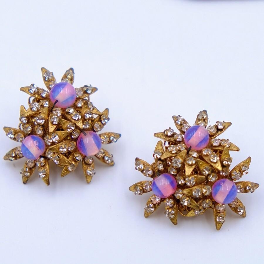 Vintage Miriam Haskell Pink Flowers Earrings 1960's