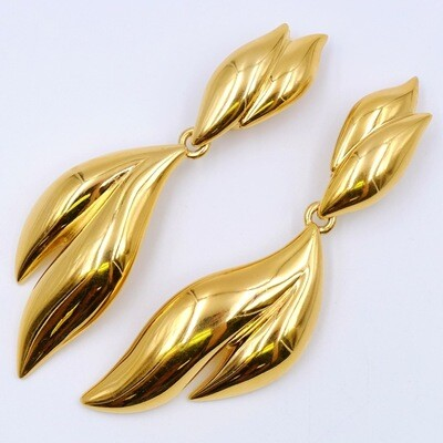 Vintage Givenchy Leaf Massive Gold tone Clip-on Earrings