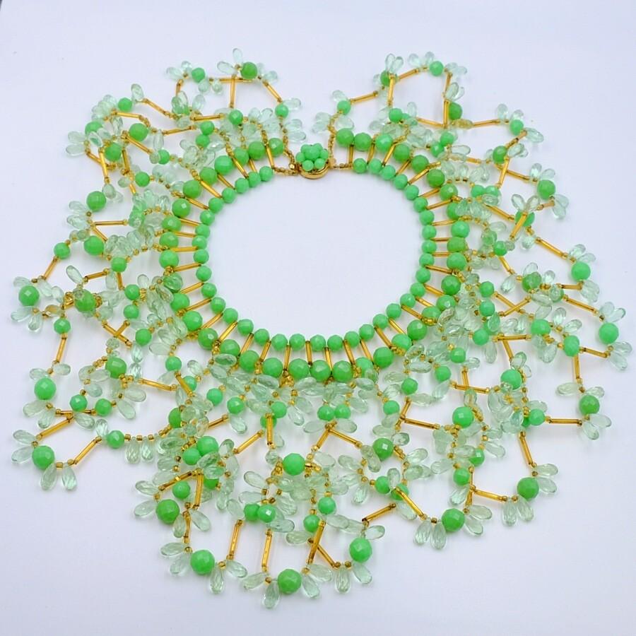 Vintage Massive Collar Green Designer Necklace 1940's