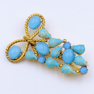 Vintage Blue Bow Brooch 1950s