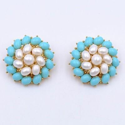 Vintage Trifari Blue White Earrings 1960s