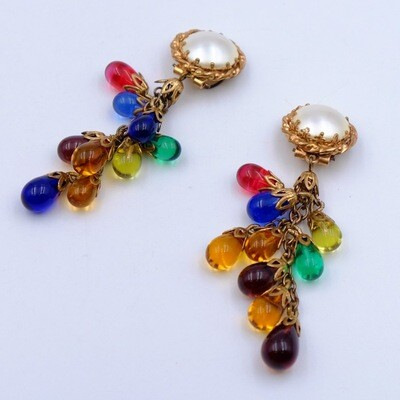 Vintage French Poured Glass Earrings 1930s