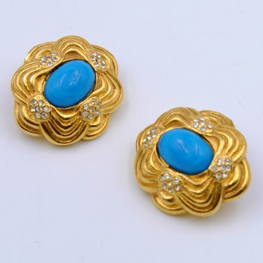 Vintage Designer Earrings Faux Turquoise 1980s