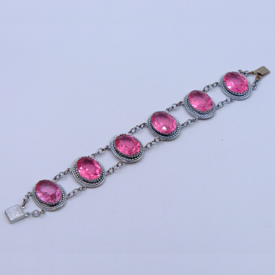 Antique Pink Glass Bracelet 1930s
