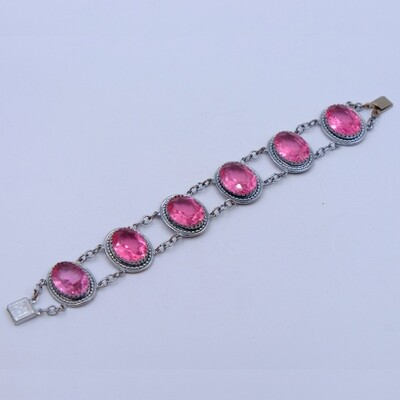 Antique Pink Glass Bracelet 1930s