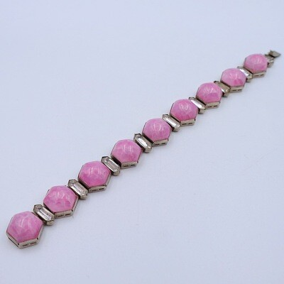 Antique Pink Glass Czech Bracelet 1930's