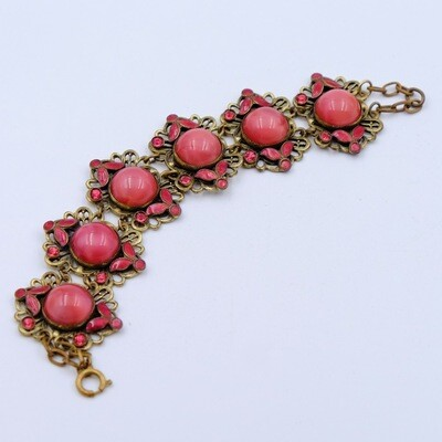 Antique Czech Bracelet with Pink Cabochons 1930s