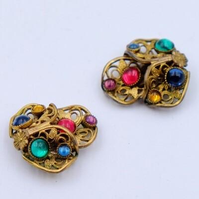 Antique Czech Clip on Earrings 1930s