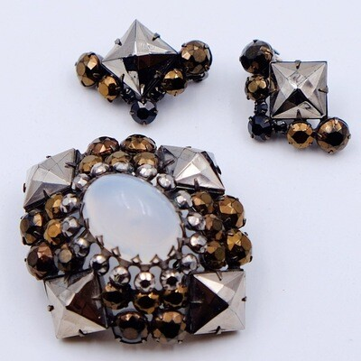 Vintage Schreiner of New York Brooch and Earrings Set 1960s