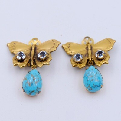 Vintage Butterfly Earrings Joseff of Hollywood Faux Turquoise