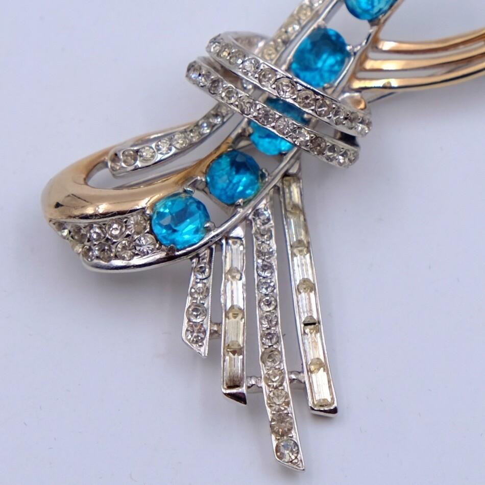 Vintage Blue Rhinestones Bow Brooch 1950s