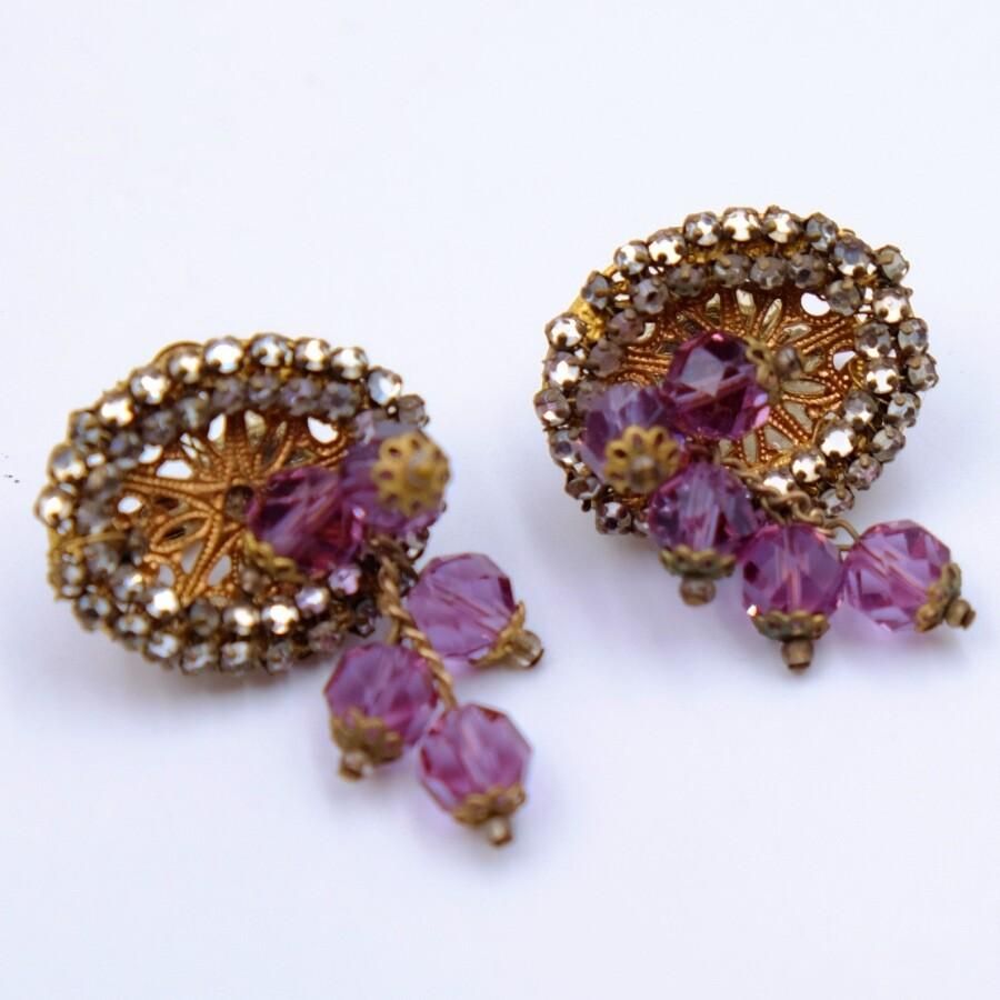 Vintage Purple Miriam Haskell Earrings 1950s