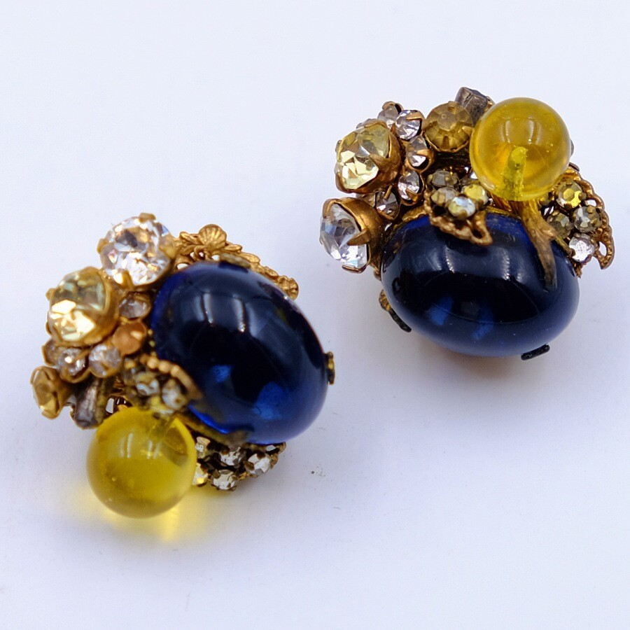 Vintage Miriam Haskell Berry Earrings Blue and Yellow 1950s