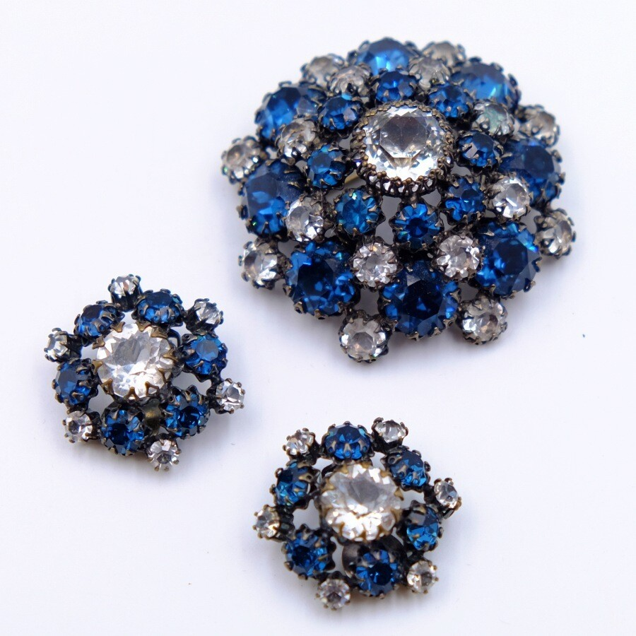 Vintage Blue Navy Glass Schreiner Set Brooch and Earrings 1960s