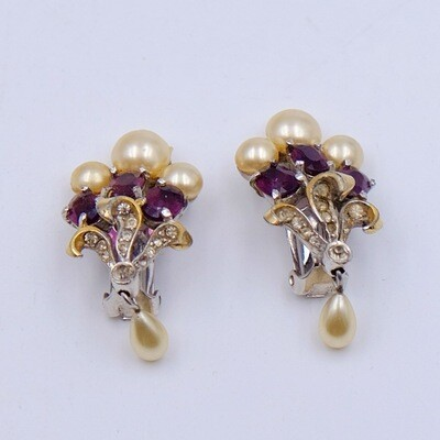 Vintage Faux Pearl Earrings 1940s