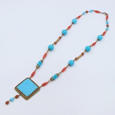 Antique Egyptian Revival Cleopatra Glass Necklace 1930s