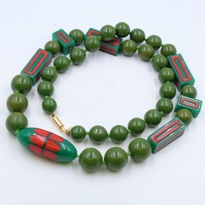 Vintage Lanvin Paris Green Plastic Beads 1970s
