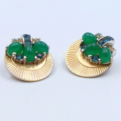 Vintage Boucher Earrings with green glass 1950s