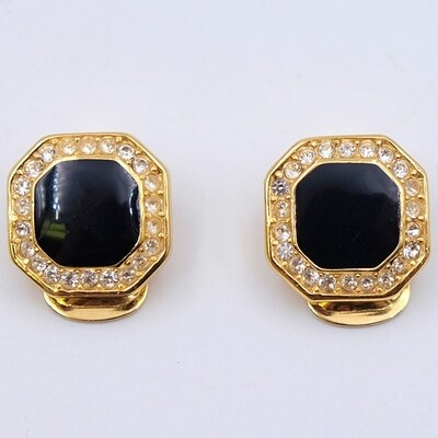 Vintage Christian Dior Faux Onyx Earrings 1990s