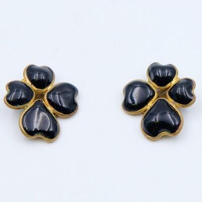 Vintage Gripoix Black Glass Earrings 1980s