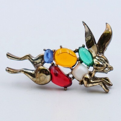Vintage Rabbit Brooch Colored Glass 1950s