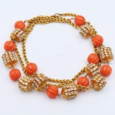 Vintage Faux Coral Beads Sotuar Necklace