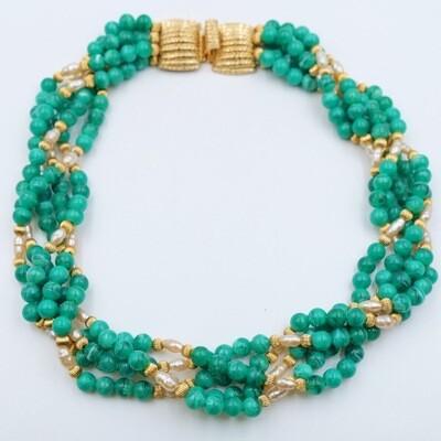 Vintage Green Beads Designer Necklace 1980s