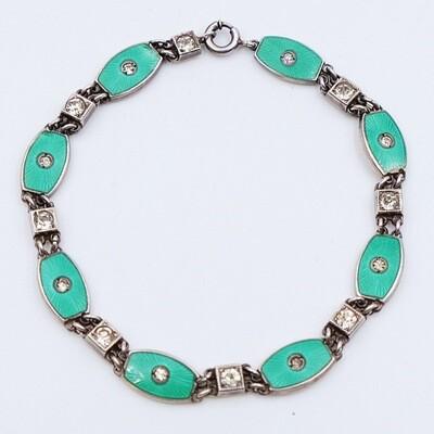 Antique Silver Enamel Bracelet 1930s