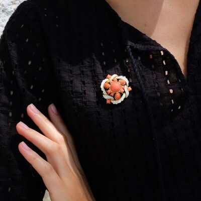 Vintage Enamel and Faux Coral Brooch 1960s