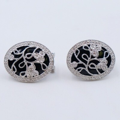 Vintage Sterling Silver Earrings with Diamonds 1970s