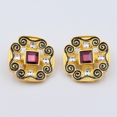 Vintage Givenchy Revival Clip on Earrings 1980s