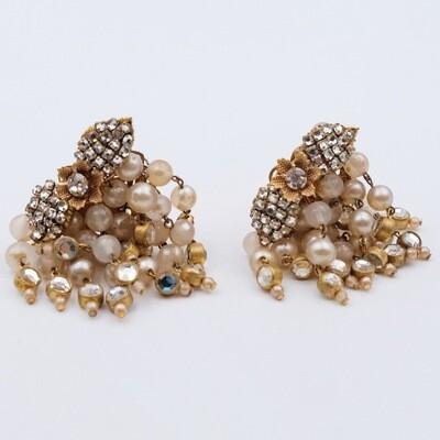 Vintage Earrings Faux Pearls 1950s