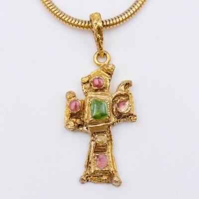 Vintage Christian Lacroix Cross Mini Pendant Necklace 1990s