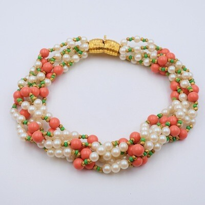 Vintage Guy Boyer Faux Pearls and Coral Beads Necklace 1980s
