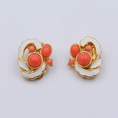 Vintage Enamel and Faux Coral Earrings 1960s