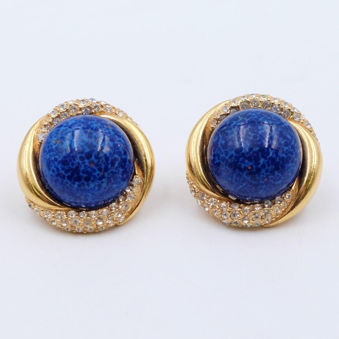 Vintage Ciner Earrings Faux Lapis Lazuli