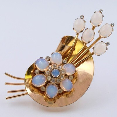 Vintage Coro Sterling Faux Moonstone Brooch 1940s