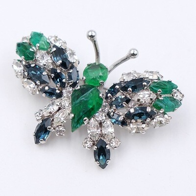 Vintage Collectible Christian Dior Butterfly Brooch Faux Emeralds 1970s