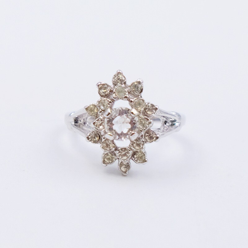 Vintage Ring With Faux Diamonds 1970s