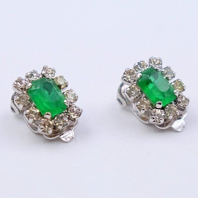 Vintage Faux Emeralds Christian Dior Earrings 1970s