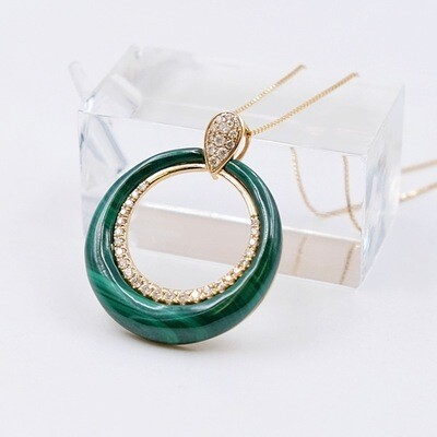 Vintage Designer Pendant Diamonds and Malachite 14K Yellow Gold