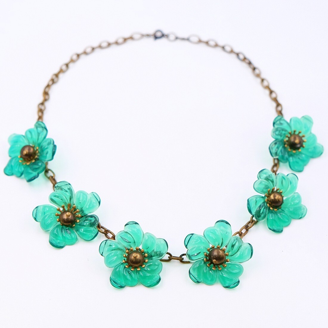 Antique Plastic Necklace With Green Flowers 1930s