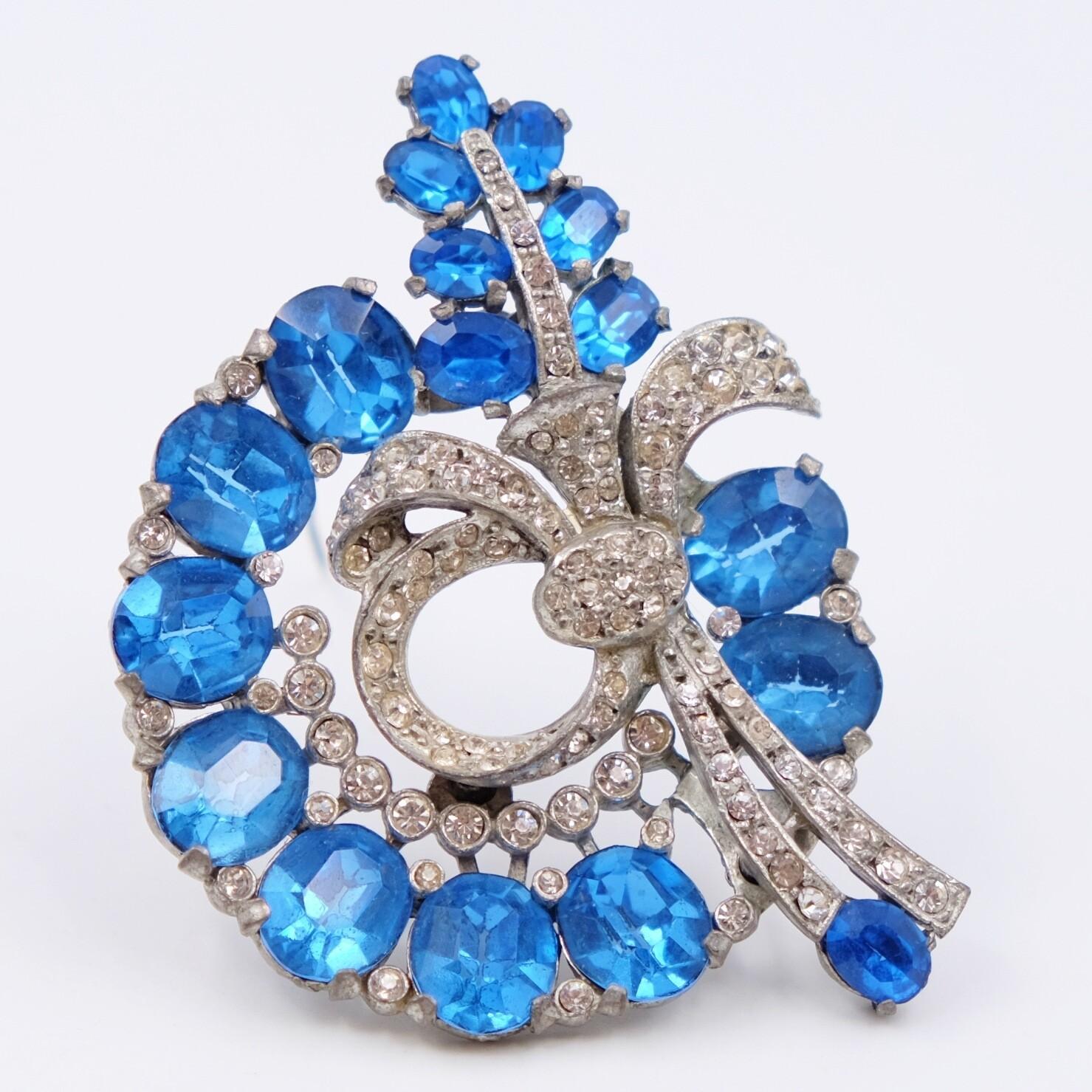Vintage Blue Glass Brooch 1930s