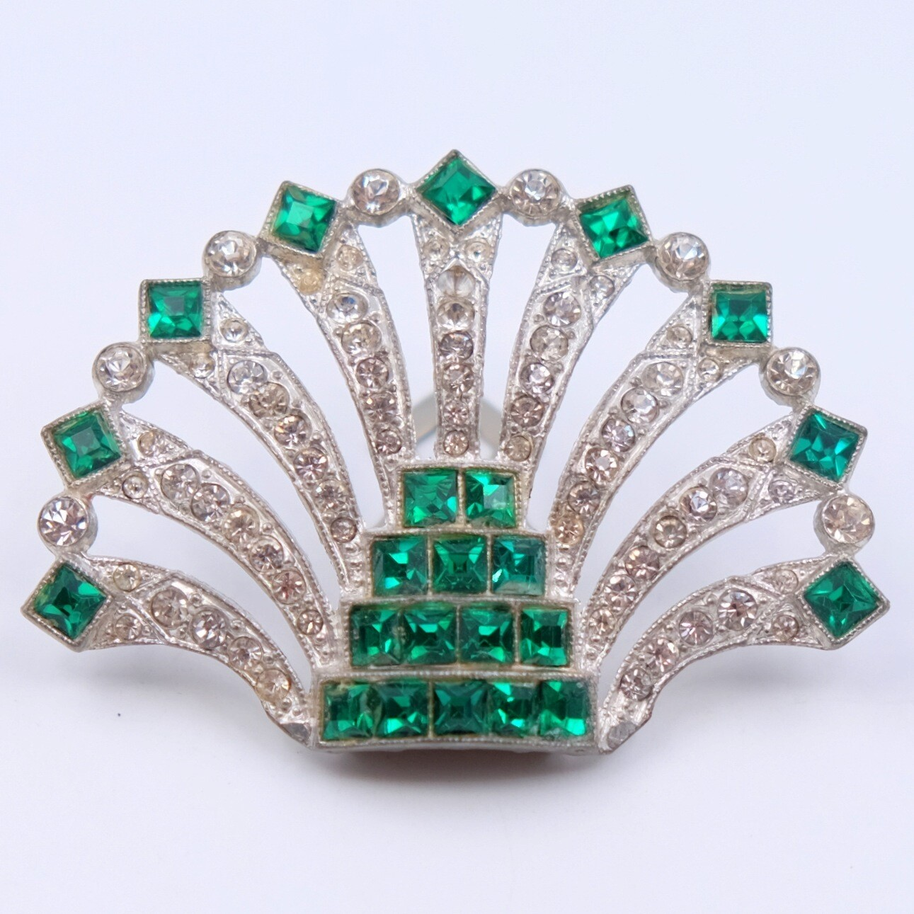 Art Deco Green Rhinestones Dress Clip 1930s